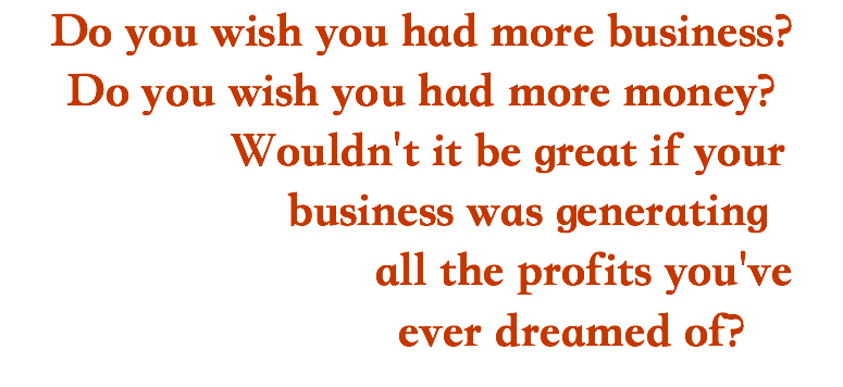 Do you wish you had more business? Do you wish you had more money? Wouldn't it be great if your business was generating all the profits you've ever dreamed of?
